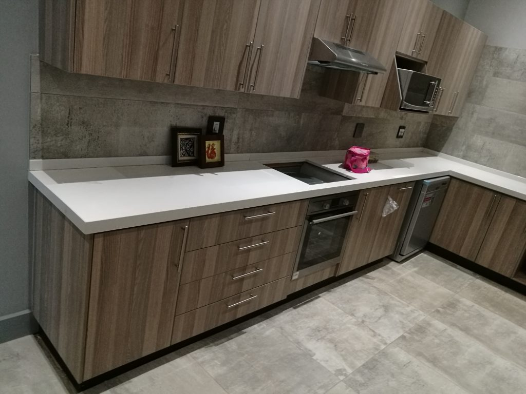 Coimbra Impact Melamine doors and Sorbet Quartz tops