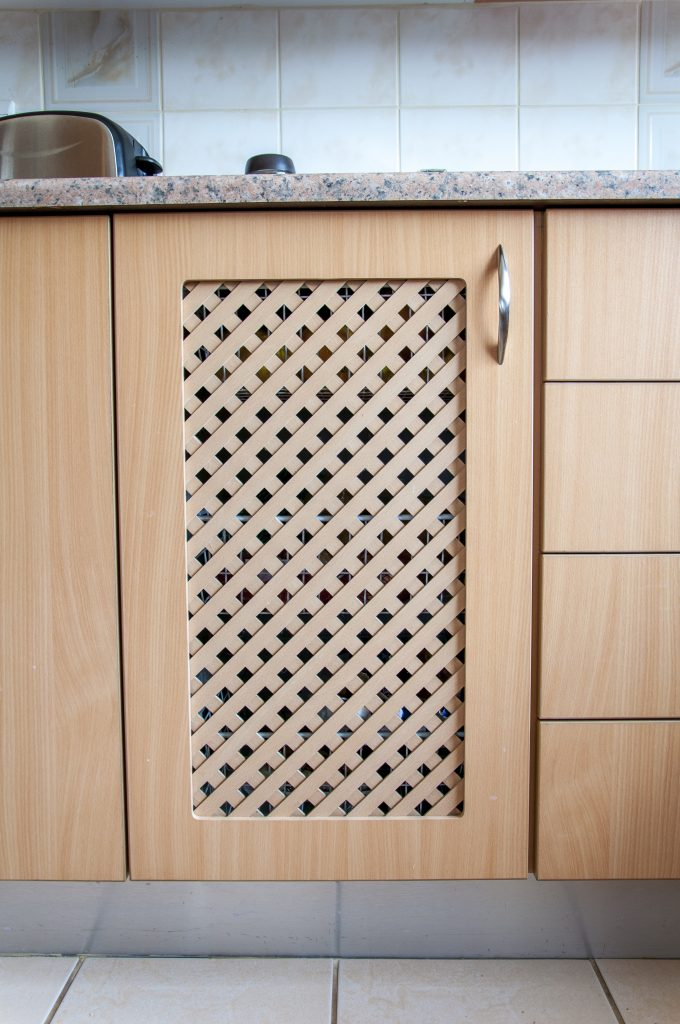 Beech Melamine Impact doors with Formica tops in 'Terracota Granite'