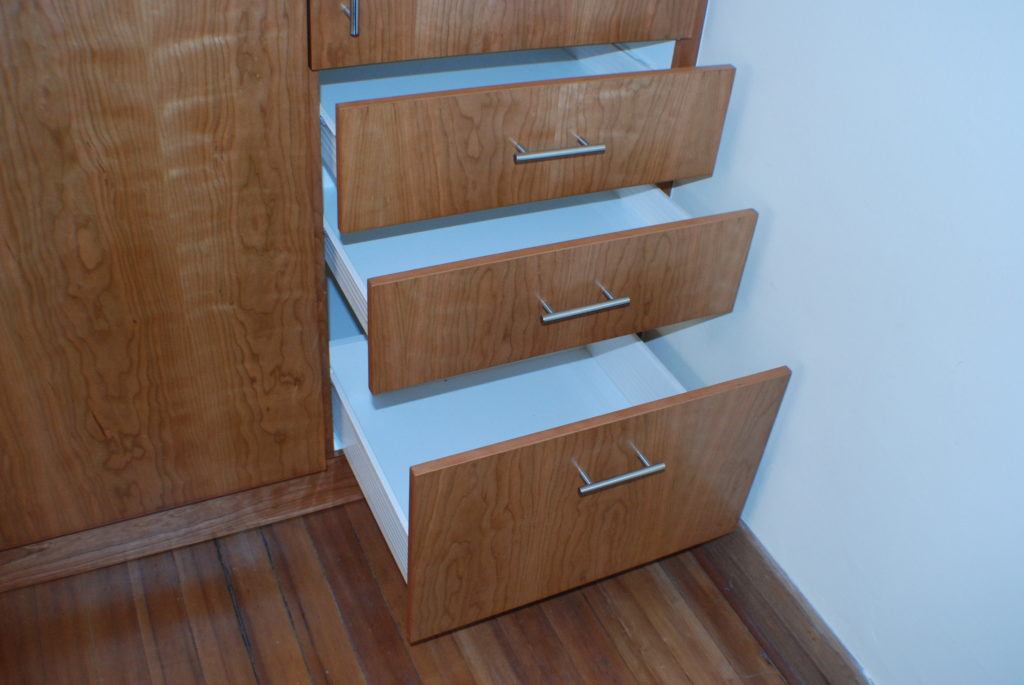 Cherry veneer doors with multiple drawers